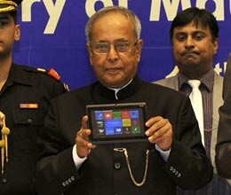 President Pranab Mukherjee launches Aakash-2 tablet for Rs 1130