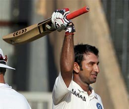 pujara completes his century in sehwag style