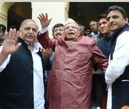 mulayam and akhilesh meet nd tiwari in lucknow