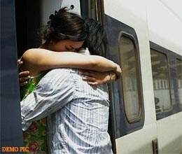 couple get married in moving train