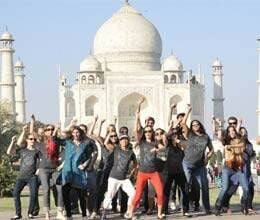 american tourist team breaks rules of taj mahal