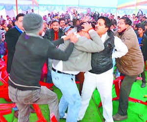 hindu jagran manch protest in salman khursheed rally