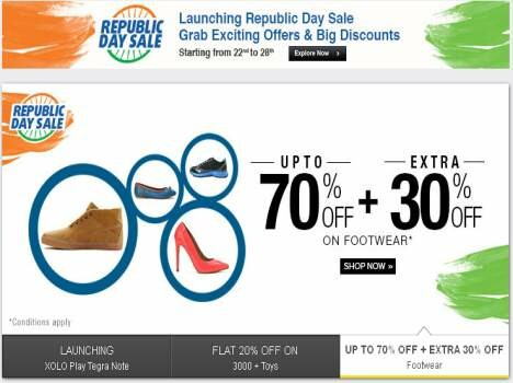 Get a 70 percent discount on favorite things on Republic Day